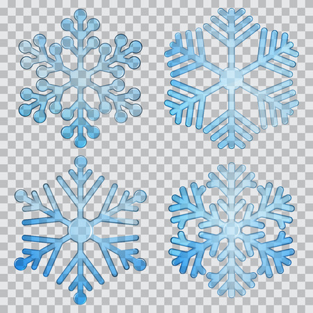 Set of transparent snowflakes of different shapes