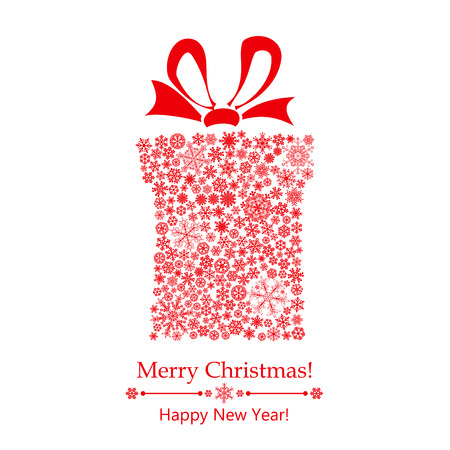 Christmas background with gift box made of snowflakes, with bow Vector