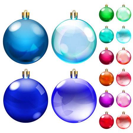 opaque: Set of opaque Christmas balls of different colors Illustration