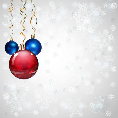 serpentines: Christmas background with snowflakes, several Christmas balls and serpentines