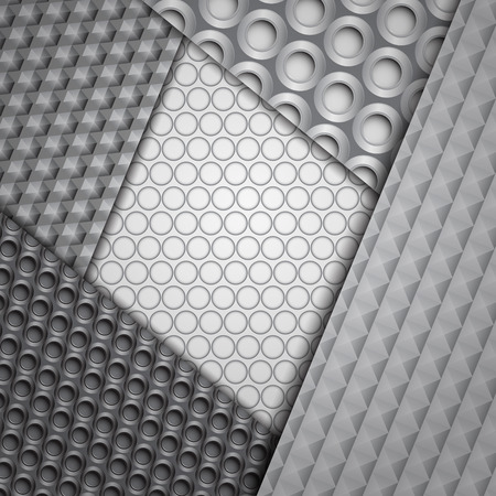 Set of several seamless carbon fiber patterns in black and gray colors Vector