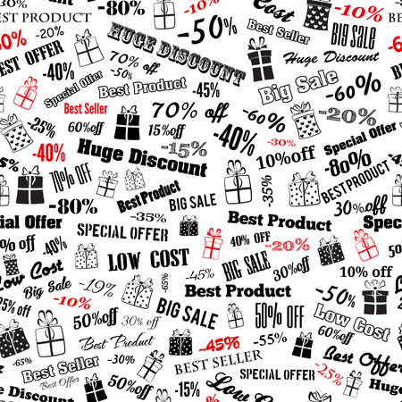 Seamless pattern on discounts and special offers, made of inscriptions and gift boxes, black and red on white