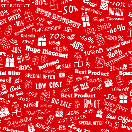 Seamless pattern on discounts and special offers, made of inscriptions and gift boxes, white on red Vector