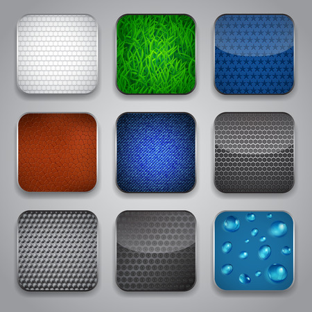 Set of apps icons with grass, drops, leather and other textures Vector