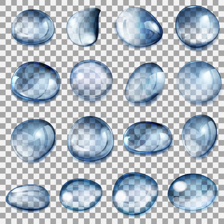 Set of transparent drops of different forms in dark blue colors Illustration