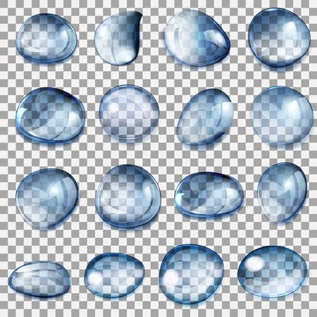 Set van transparante druppels van verschillende vormen in het donker blauwe kleuren