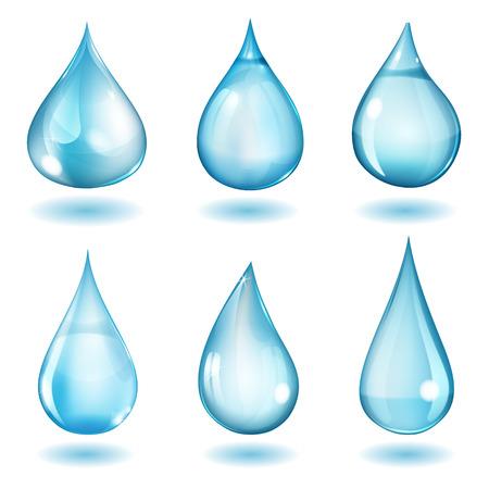 青い色の異なった形態の六つ不透明な滴のセット