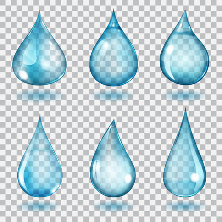 Set of six transparent drops of different forms in blue colors
