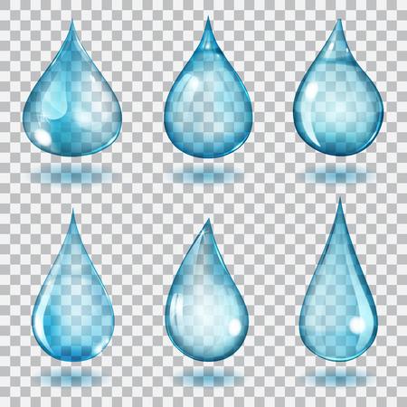 Zestaw sześciu przejrzystych kropli różne formy w kolorach niebieskim
