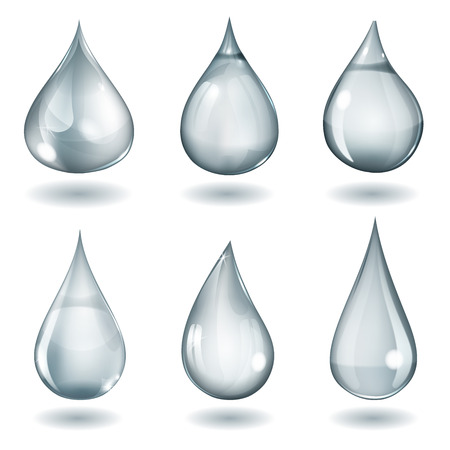 opaque: Set of six opaque drops of different forms in gray colors
