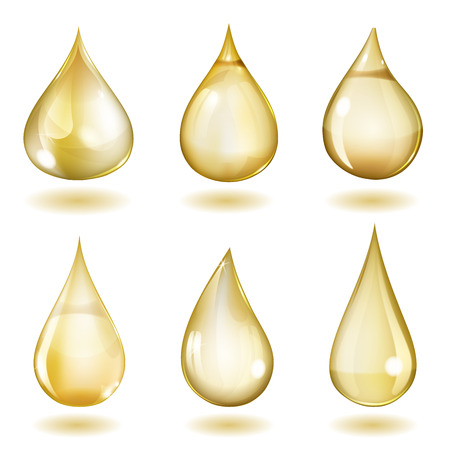 Set of six opaque drops of different forms in yellow colors 矢量图像