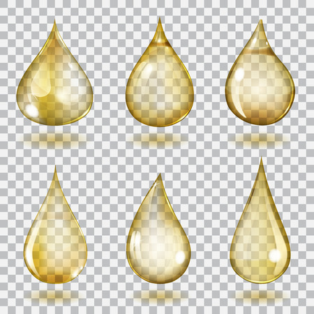 Set of six transparent drops of different forms in yellow colors