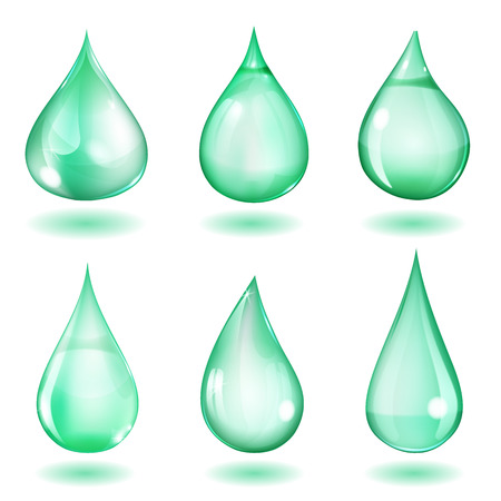 opaque: Set of six opaque drops of different forms in turquoise colors