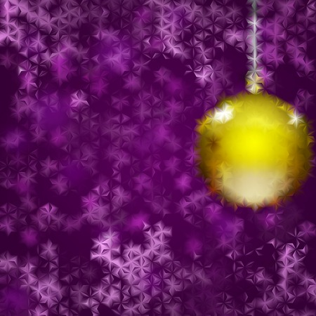 fluted: Christmas background with yellow Christmas ball and violet snowflakes behind fluted glass