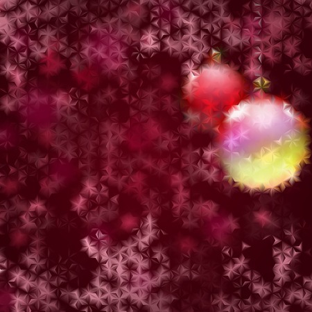 fluted: Christmas background with two Christmas balls and red snowflakes behind fluted glass Illustration
