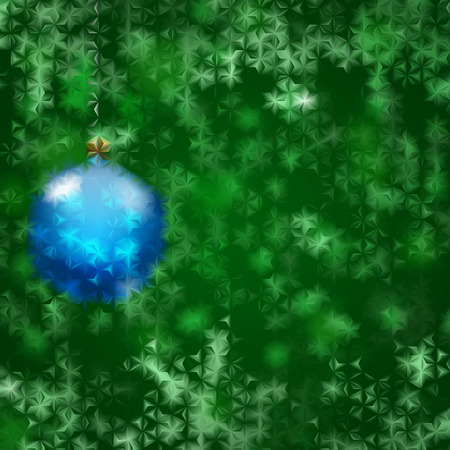 fluted: Christmas background with blue Christmas ball and green snowflakes behind fluted glass Illustration