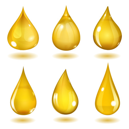 Set of six opaque drops of different forms in saturated yellow colors  イラスト・ベクター素材