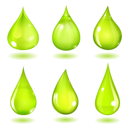 opaque: Set of six opaque drops of different forms in saturated green colors