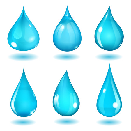 Set of six opaque drops of different forms in saturated light blue colors