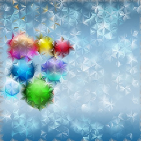 fluted: Christmas background with several Christmas balls and light blue snowflakes behind fluted glass