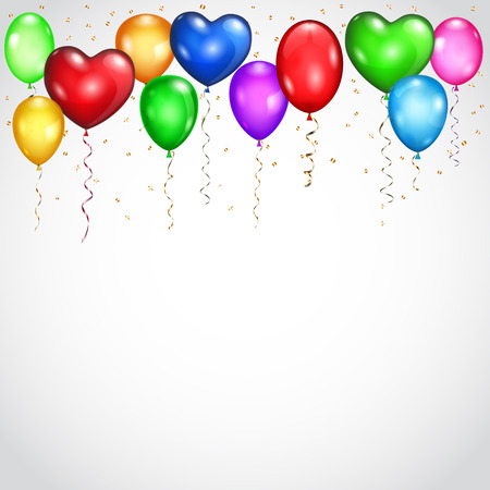 serpentines: Background with flying colored balloons and serpentines