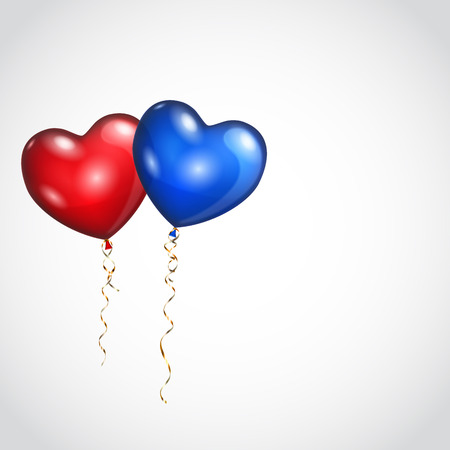 red balloons: Background with two balloons, red and blue