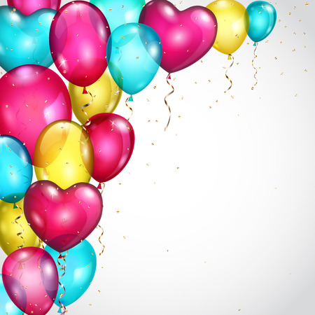 serpentines: Background with many flying colored balloons and serpentines Illustration