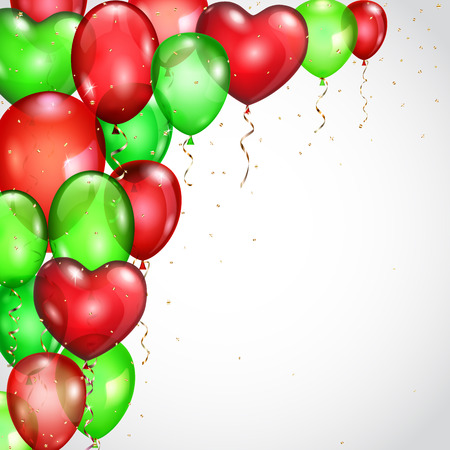 serpentines: Background with many flying red and green balloons and serpentines
