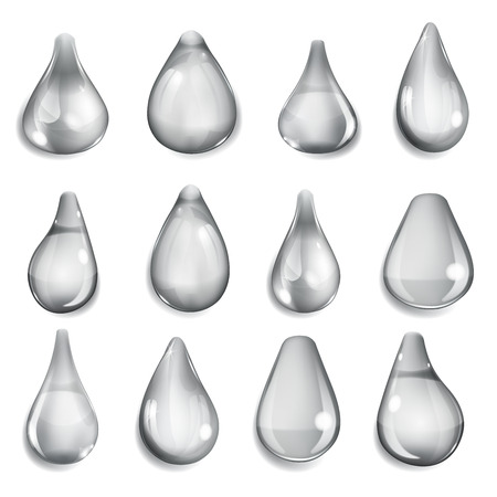 opaque: Set of opaque drops of different forms in gray colors
