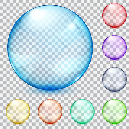 Set of transparent glass spheres in various colors