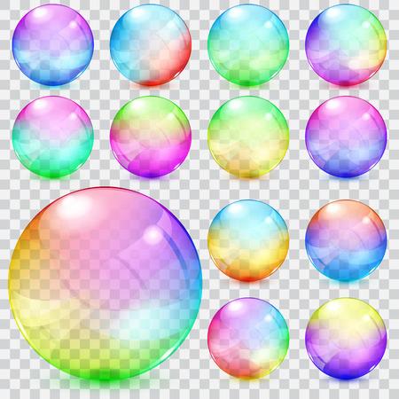 カラフルな透明なガラス球のセット