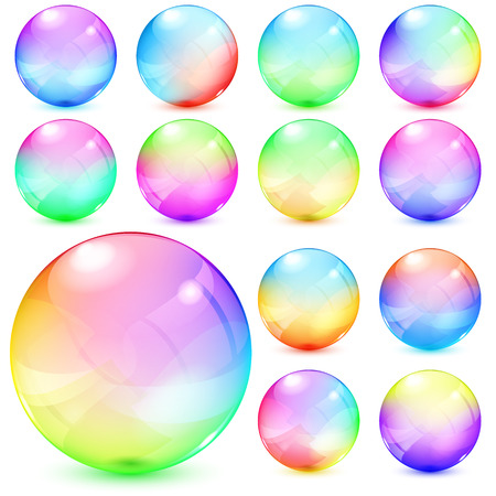 Set of colorful opaque glass spheres Vectores