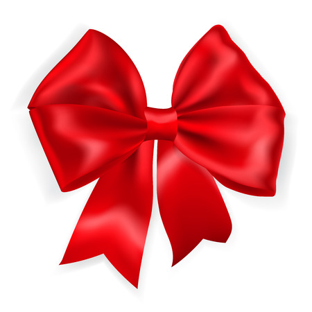 Beautiful bow made of red ribbon Ilustração