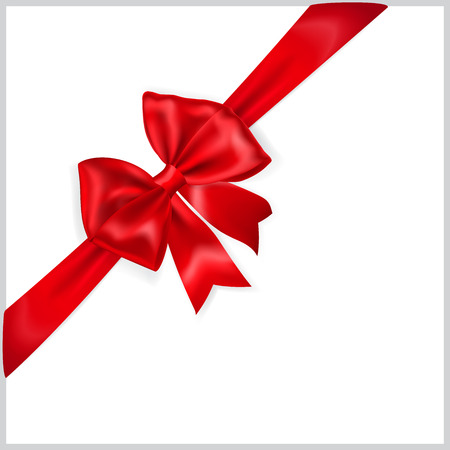 Beautiful red bow with diagonally ribbon Illustration