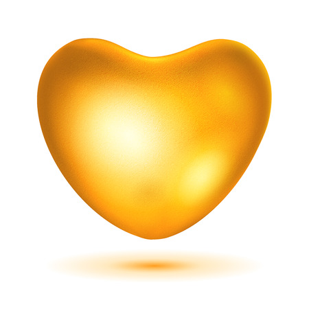 bid: Bid gold heart with glare and shadow Illustration