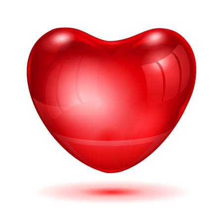 bid: Bid red glossy heart with glare and shadow Illustration