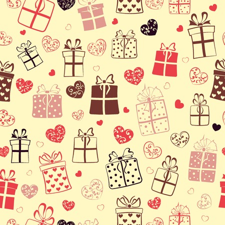 Seamless pattern of gift boxes and hearts with curls, multicolored on yellow Vector
