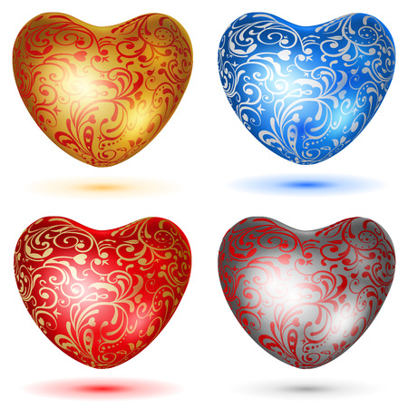 shiny hearts: Set of shiny hearts with curls in various colors Illustration