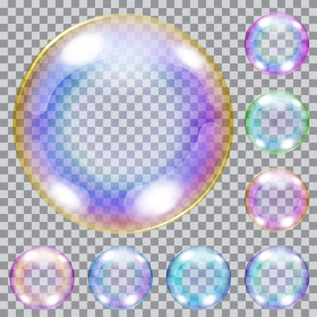 soap: Set of multicolored transparent soap bubbles with glares