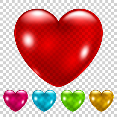 Set of beautiful transparent glossy hearts in various colors
