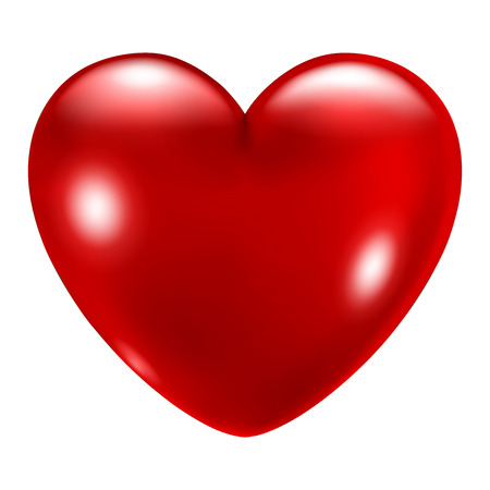 romance: Big beautiful red heart with glares on white background