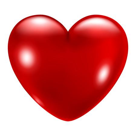 romance: Gran corazón rojo hermoso con miradas sobre fondo blanco