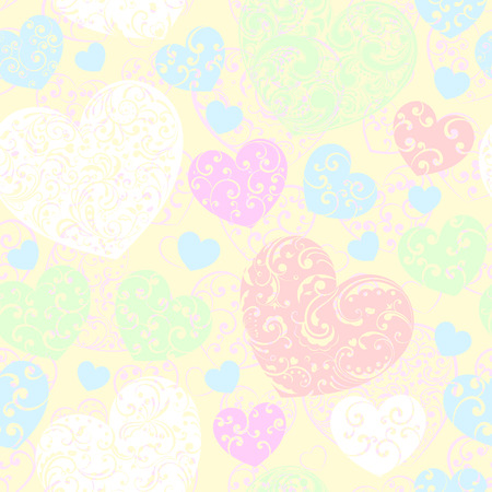 Seamless pattern of big and small hearts with curls, multicolored on yellow Vector