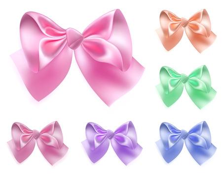 ribbons and bows: Set of six bows made of colored silk ribbons