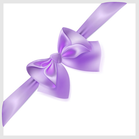 diagonally: Beautiful violet bow with ribbon made of silk, located diagonally