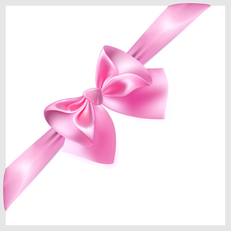 diagonally: Beautiful pink bow with ribbon made of silk, located diagonally Illustration