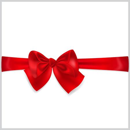 Beautiful red bow with horizontal ribbon Ilustração