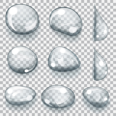 lagrimas: Conjunto de gotas grises transparentes de diferentes formas Vectores