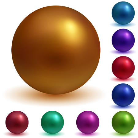 metal ball: Set of matte spheres in various colors with shadows