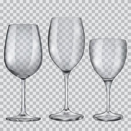 3 つの透明なガラスのワインのゴブレットを空します。